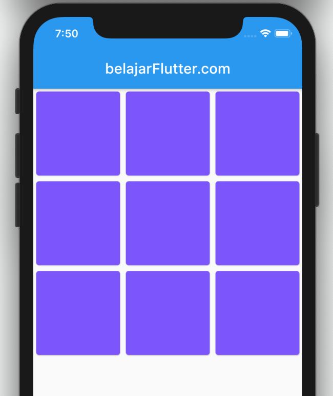 Penggunaan GridView di Flutter