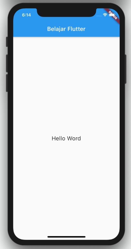 contoh aplikasi hello word pada flutter